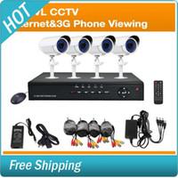Wholesale 4CH Security Surveillance System DVR TVL CCTV Indoor Outdoor Night Vision Cameras