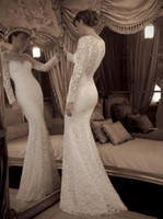 Wholesale 2014 Sexy Long Sleeves Mermaid Lace Wedding Dress Sheer Bridal Gown With Buttons Back BO1135