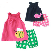 Girl Summer 100% Cotton 2013 New kids summer Short-sleeved suit baby girl cotton Cartoon dot sling vest+ shorts 2 pcs set red Blue,ZJU66