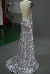 Wholesale 2014 Fashion Elegant Silver V neck Mermaid Column Court Paillette Sequin Beads Split Front Evening Dresses Olesa2014