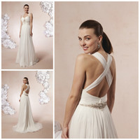Wholesale 2013 Cheap Grecian Beach Wedding Dresses Backless Halter Strap Beaded Shiny Chiffon Bridal Fancy Party Gowns Destination Wedding Dresses