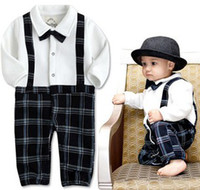 Boy vintage style - Baby Boys Gentleman Style Rompers Faux Bowtie Suspender One Piece Romper Vintage Checker Toddler Clothes Jumpersuit Tuxedo Clothing B1397