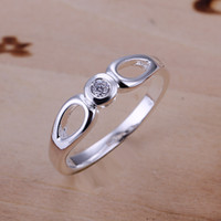 Wholesale R104 Clear Crystal Ring Factory Price High Quality silver ring fashion jewellry silver rings