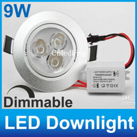 Wholesale 9W CE CREE dimmable LED downlight x3W led ceiling light AC110V V include the driver high power led lamp