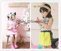 Girl Summer Cotton Blends 13080716 Wholesale New 2013 Girls Clothing Sets Polka Dot Sleeveless T-shirt and Pantskirt Baby Girl Clothes Free Shipping