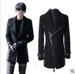 Wholesale New Men Boys British Style Lapel Long Dust Coats Fashion Oblique Zipper Woolen Overcoats Trench Coats