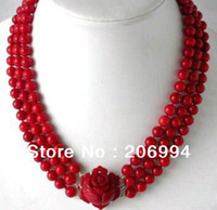 Chains coral coral necklace - factory price new arrive Fancy row red coral bead flower clasp necklace fashion jewelry