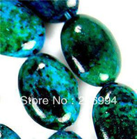 azurite jewelry - Charming Natural x18mm Azurite Chrysocolla Gem Oval Loose Bead quot pc fashion jewelry
