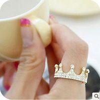 Wholesale Min order is mix order Korean Fashion Ring Imitation Diamond Crown Rings OD0031