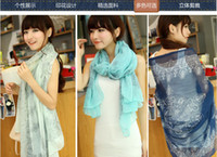 Wholesale fashion womens spring autumn totem Blue and white porcelain printing scarves wraps