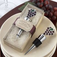 wine grapes - 10 Chrome Wine Bottle Stopper with Grapes Design Party Wedding Favors