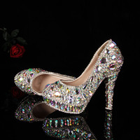 Wholesale Full crystal lady s formal shoes Jeweled Beaded Women s cm High Heels Beaded Bridal Evening Prom Party Wedding Dresses Bridesmaid Shoes