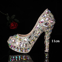 Rhinestone High Heel Round Toe Full crystal lady's formal shoes Jeweled Beaded Women's 11cm High Heels Beaded Bridal Evening Prom Party Wedding Dresses Bridesmaid Shoes