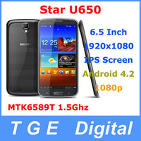 Star Android 1GB, 2GB Star Ulefone U650 Android 4.2.2 Phone 6.5 inch FHD 1920*1080 Screen MTK6589T 1.5GHz Quad core 1GB+16GB 2GB+32GB Russian