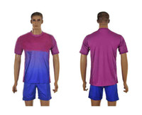Men Short Polyester 2013-2014 Club Team Goalkeeper Blue Purple Soccer Kits Football Jersey+Short Sports Set able mix order custom name,number