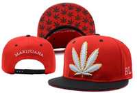Wholesale Marijuana Snapback Red Black colors cotton hip hop street headwear sports hats adjustable designer caps top quality