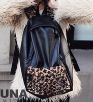 Wholesale 2013 new retro leopard rivet PU splice female student shoulder bag