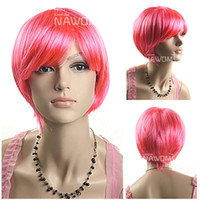 other other other Free shipping human synthetic wig teams fans party wigs short straight cheap pink hair for women