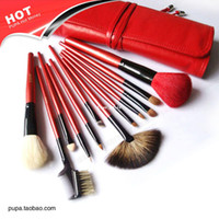 Wholesale BIG DISCOUNT PUPA cosmetic facial make up wool red brush kit makeup brushes tools set red case