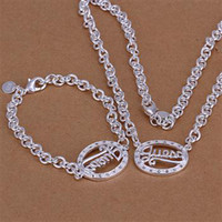 Wholesale Christmas gift jewelry sets Sterling Silver sets Fashion jewelry sets Silver sets Silver Necklace Silver bracelet C15