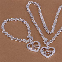 Wholesale lowest price Christmas gift silver Necklace Bracelet set S82