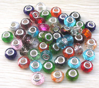 Wholesale Brand New mm Stering Core Big Hole Crystal Glass Loose Beads Fit European DIY Jewelry Mix Order