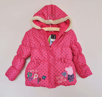 Girl Spring / Autumn Standard Kids Quilted Coat Girls Polka Dot Overcoat Fashion Red Hooded Coat Children Outwear Winter Coats Child Cute Bowknot Cartoon Coat Kids Wear