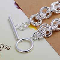 Wholesale 925 sterling silver fashion bracelet bangle H023 gift box bag