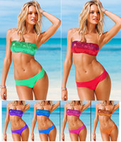 Wholesale Newest Sexy Women Bikini Swimwear Sequin Glitz Shining Tube Top amp Bottom Swimsuit Tie Back Closure Bathing Suit Girls Swimming wear T85