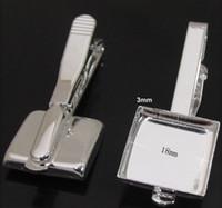 Wholesale Silver plated Men s Tie Clip Blank Base Cufflinks Sqaure mm bezel setting