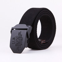 Wholesale Mens Canvas Belts Metal Buckle US Black Colors cm Free Size Fashion Accessories Sports Leisure Belt