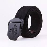 Wholesale Mens Canvas Belts Metal Buckle US Black Colors cm Free Size Fashion Accessories Sports Leisure Belt