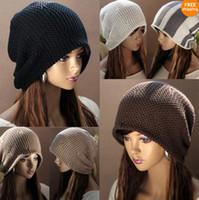 Prezzi Wool hat-berretto di lana allentato Donne Hip-hop modo donne della Corea Chic Baggy Beanie Slouchy oversize Cappello di lana sci Calotta Colori caldi MZ2011