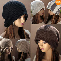 Spring & Fall skull caps - Women Hip hop fashion loose wool cap KoreaWomen Chic Baggy Beanie Slouchy Oversized Knit Ski Hat Skull Cap Warm colors MZ2011
