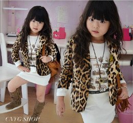 Wholesale Baby Kids Fall Coat Fashion Leopard Print Pocket Long Sleeve Children Casual Suit Jacket Year Boys Girls Suit Coat QS519