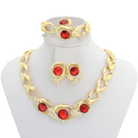 Wholesale Latest Design Chain Choker Necklace Original Big Red Rhiestone Crystal Fashion Jewelry Set A033