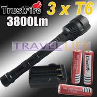 Wholesale TrustFire T6 LED Flashlight Mode lumens x CREE XM L T6 LED Torch Lamp battery charger