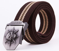 Wholesale Mens Canvas Belts Skull Metal Buckle Black Colors cm Free Size Fashion Accessories Sports Leisure Belt