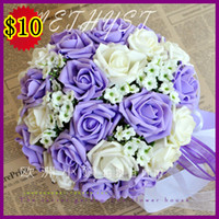 Wholesale In Stock Romantic Wedding Bouquet Lavender Lilac Perfect Wedding Favors Hand Holding Flower Artificial Flowers Adornment Silk