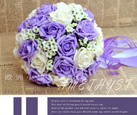 lavender silk - In Stock Elegant Wedding Bouquet Lavender Lilac Perfect Wedding Favors Hand Holding Flower Artificial Flowers Adornment Silk