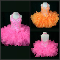 Wholesale Best Selling Pink Cute Glitz Little Girls Pageant Dresses Beads Tiered Organza Short Mini Kids Pageant Dresses Orange Girls Party Dresses
