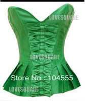 Women Bodysuit  Free Shipping Lovely Lingerie Full Green Lace Up Back Boned Corset Top S-2XL