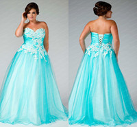 A-Line aqua specials - 2013 Plus Size Special Occasion Dresses Aqua Strapless Appliques Tulle Beaded Back Lace up Prom Evening Dresses F