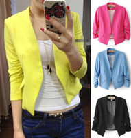 Women Waist_Length Cotton New Women's Fashion Korea Candy Color Solid Slim Suit Blazer Coat Jacket s M L