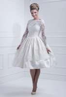 Modern short wedding dresses - 2013 New Sexy Long Sleeves Satin A Line Short Wedding Dresses Lace Beaded Backless Bridal Gown