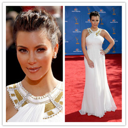 Wholesale On Sale Sexy Kim Kardashian Red Carpet Evening Dress Emmy Awards Long White Crew Jewel Celebrity Dresses Formal Gowns