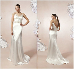 Wholesale Greek Grecian Sheath Goddess Elastic Satin Beach Wedding Dresses Sexy Spaghetti Straps Cowl Backless Covered Button Gowns For Vintage Brides