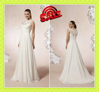 Bateau Chiffon Sleeveless Vintage Covered Button Lace Appliques Chiffon Grecian Wedding Dresses 2014 Cheap Sweep Train Custom Made Garden Bridal Wear Fancy Dresses