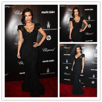 Trumpet/Mermaid Sexy Lace Wholesale - Good Design New Fashion Kim Kardashian Sexiest Black Lace Celebrity Dress 2013 Short Cap Sleeves Long Mermaid Evening Dress