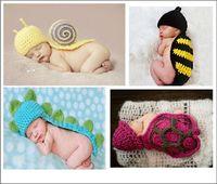 Unisex Winter Crochet Hats 5pcs lot Free Shipping Handmade Children Hat Newborn Baby Crochet Beanie Toddler Knitted Animal Hat Photography Props